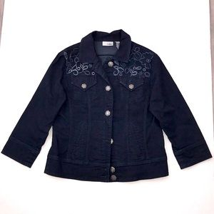 Chico's Platinum Embroidery Jean Jacket